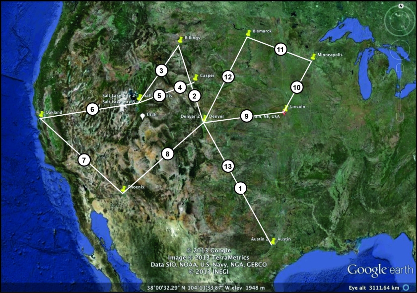 My tour route. The numbers represent legs of the trip. I am not entirely sure if the place names are readable. And like all crap geologists, I have omitted a scale. But America is big, right?