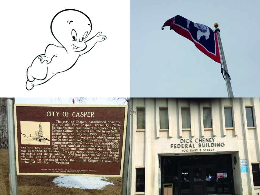 Top-left: Capser. Bottom-left: a potted history of Casper. Top-right: a rather rubbish picture of the rather dandy state flag. Bottom-right: Shudder.