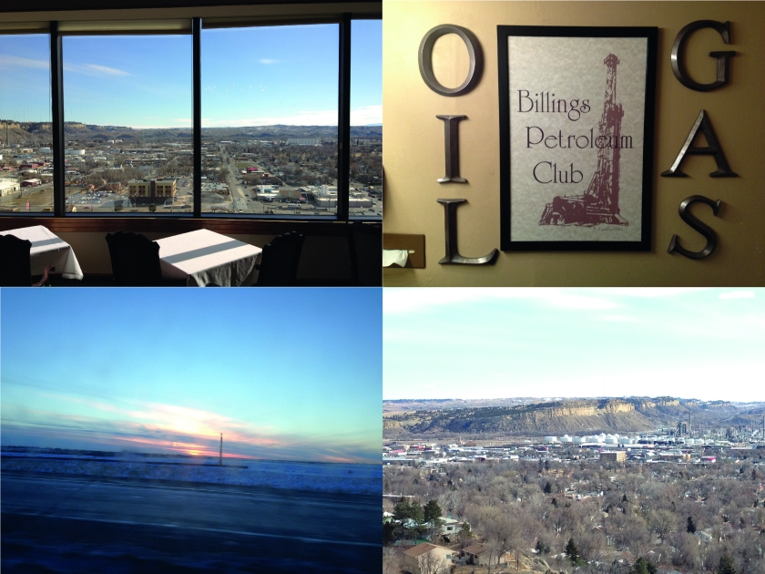 Bottom left: Colorado sunrise, en route to Denver airport from Golden. Top left: view from the Billings Petroleum Club. Top right: the Billings Petroleum Club sign (believe it or not, this was in the toilet!). Bottom right: view from the rim over Billings. Beautiful.