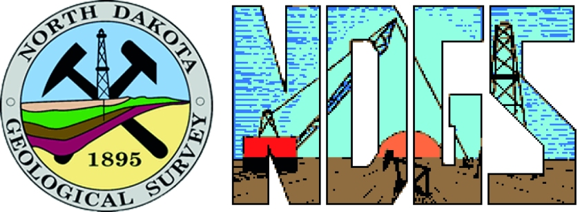 Left: logo for the North Dakota Geological Survey. Right: logo of the North Dakota Geological Society. Don't mix 'em up; they'll get mad.