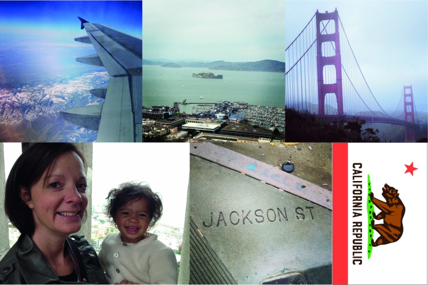 Top-left: the flight into Oakland over the Sierra Nevadas; even this is awesome. A bit of Instagramming helps too. Top-middle: Alcatraz=awesome. Top-right: Golden Gate Bridge=awesome. Bottom-left: Vicki and Olive get into the San Fran spirit at the top of Coit Tower. Bottom-middle: How nice of them…Bottom-right: Even the flags awesome. What's cooler than a bear? And claiming to be a republic? I know: putting both on a kick-ass flag…