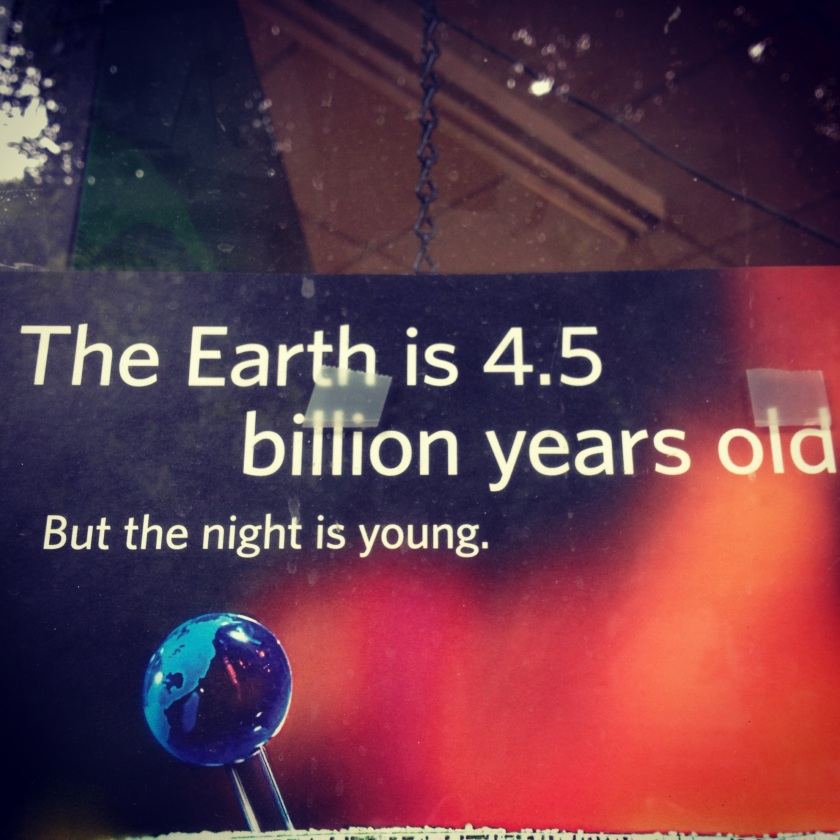 Check out this awesome sticker in the Nob Hill area of San Francisco. Creationist readers can replace '4.5 billion' with 'a few decades'...