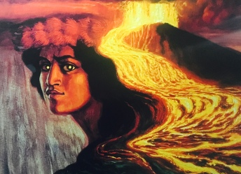 Pele, goddess of fire, lightning, wind and volcanoes and the creator of the Hawaiian Islands.
