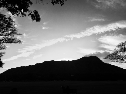 Diamond Head at sunrise, Honolulu, HI. The run that followed was hard. Real hard.