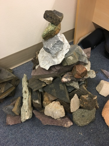 Marli's inter-office cairn. Maybe she has a poor sense of direction and likes compasses
